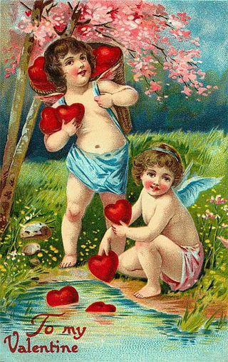 Victorian-valentines-cards-two-cherubs-red-hearts